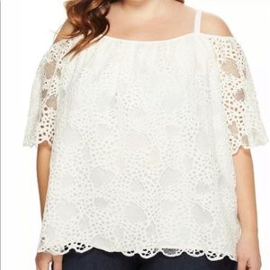Vince Camino NWT Ivory Cold Shoulder Lace Blouse